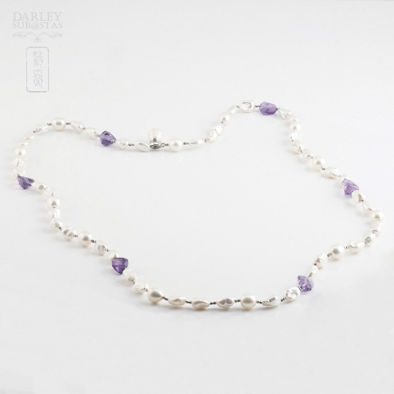 Necklace Amethyst and Pearl  in Sterling Silver, 925 - 3
