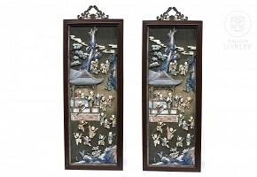 Par de paneles adornados con madera tallada y hueso, China, s.XIX