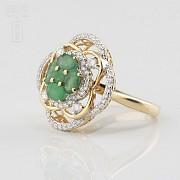 18K黄金镶钻石配祖母绿戒指 - 2