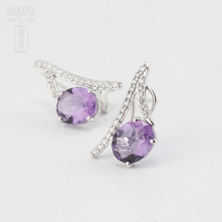 Originales pendientes amatista y diamantes