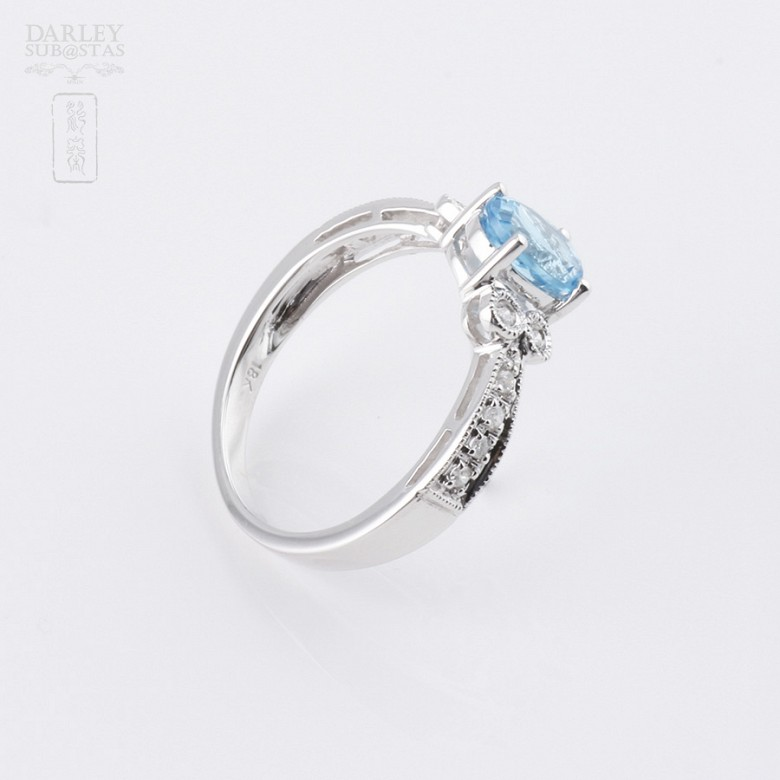 Ringwith topaz 1.03 cts and  diamonds in 18k white gold - 3