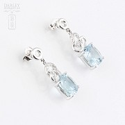 Earrings with  4.54cts  Aquamarine and Diamond in 18k White Gold - 3