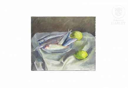 """Miquel Vaquer (1910-1988) """"Bodegón con pescados"""", 1973."""