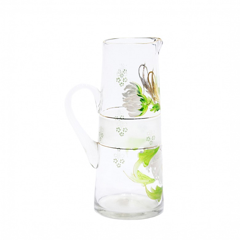 Hand-painted glass jug, 20th century - 2