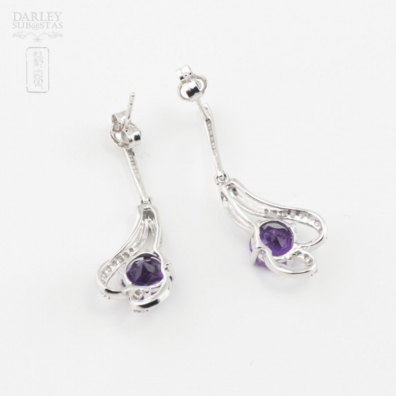 18K白金镶钻石配紫晶耳环 - 3