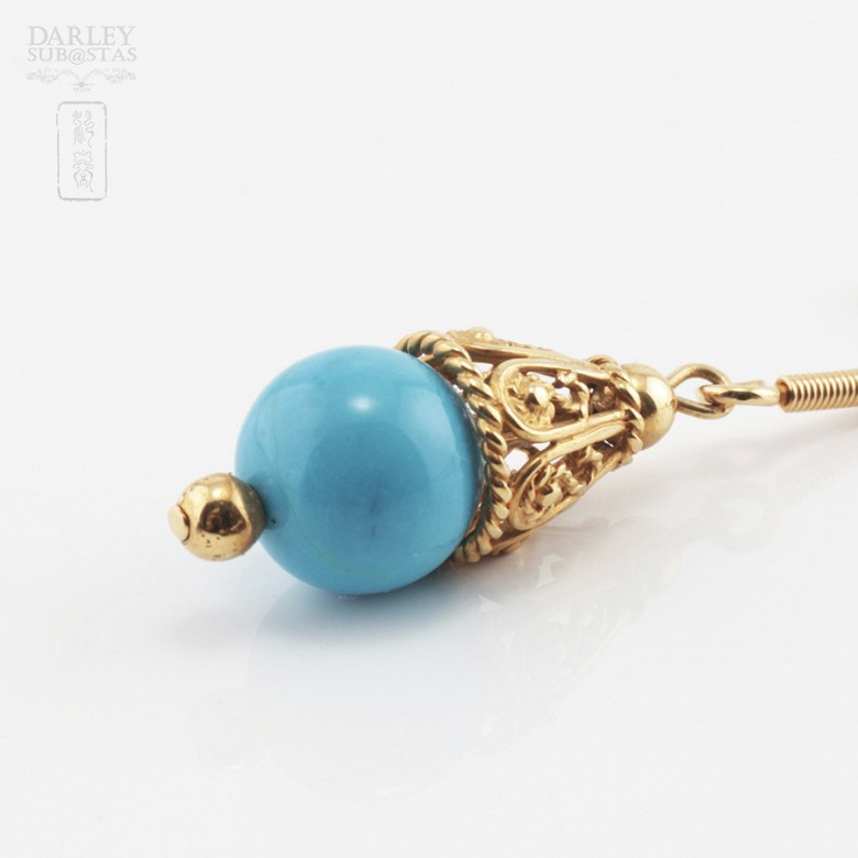 18k yellow gold and natural turquoise earrings - 3