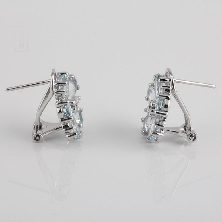 Earrings with aquamarine 4,01cts  and diamonds in white gold - 3