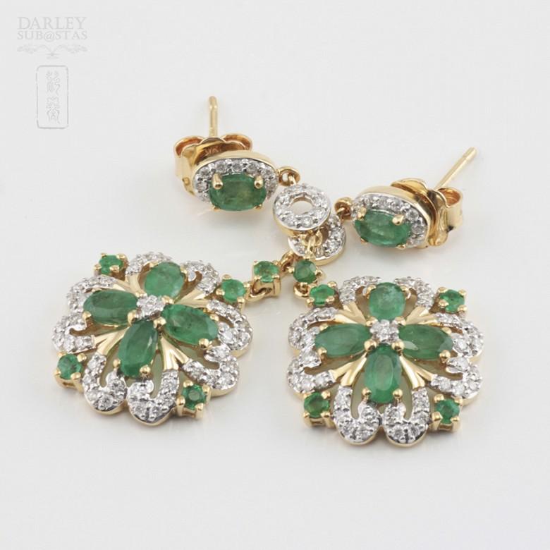 18K黄金镶钻石配祖母绿耳环 - 2