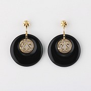 earrings  natural onyx  in 18k yellow gold - 3