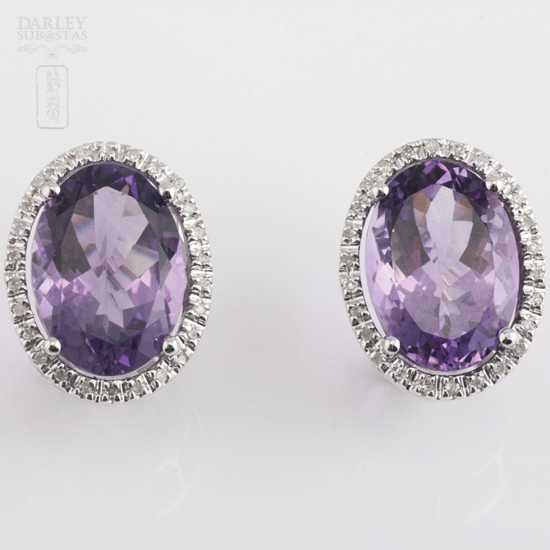 Earrings with amethyst 10.20 cts  and diamonds in white gold - 1
