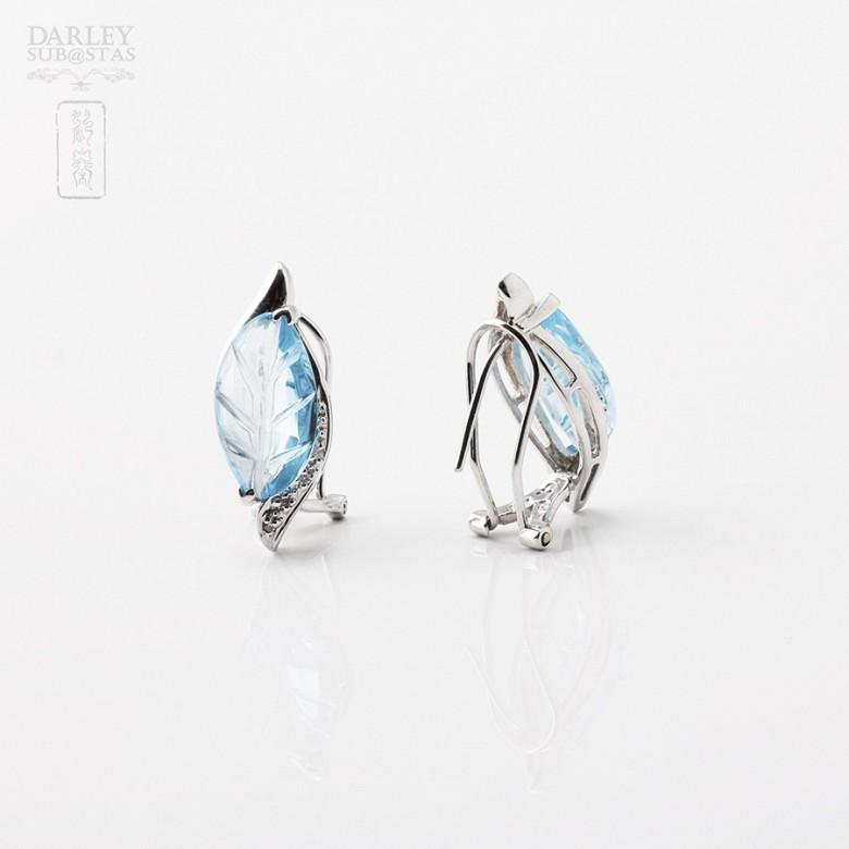 6.67克拉天然蓝晶配钻石8K白金耳环 - 2