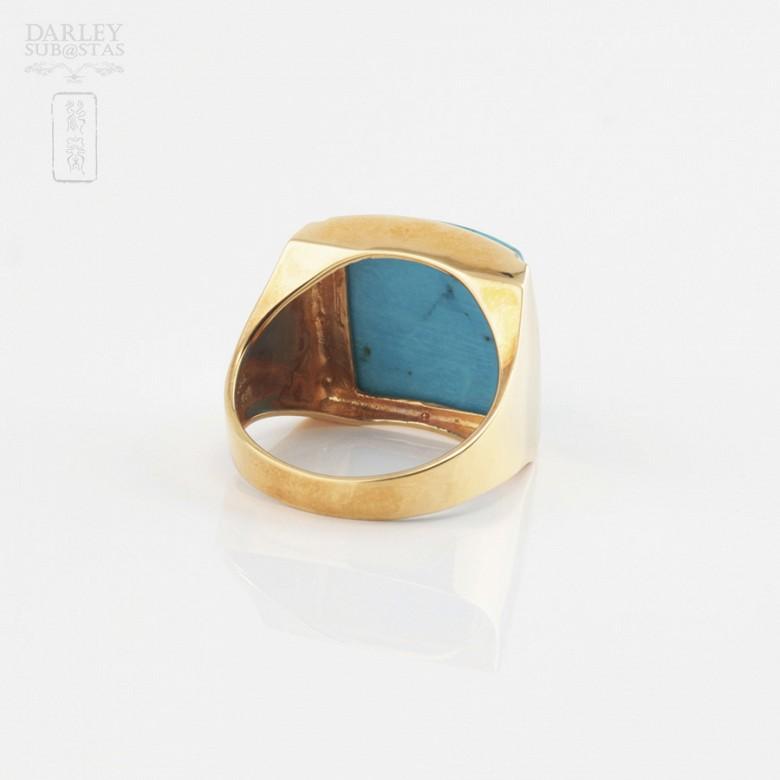 绿松石配18K黄金戒指 - 3