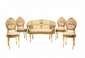 Canapé and four Louis XVI style chairs