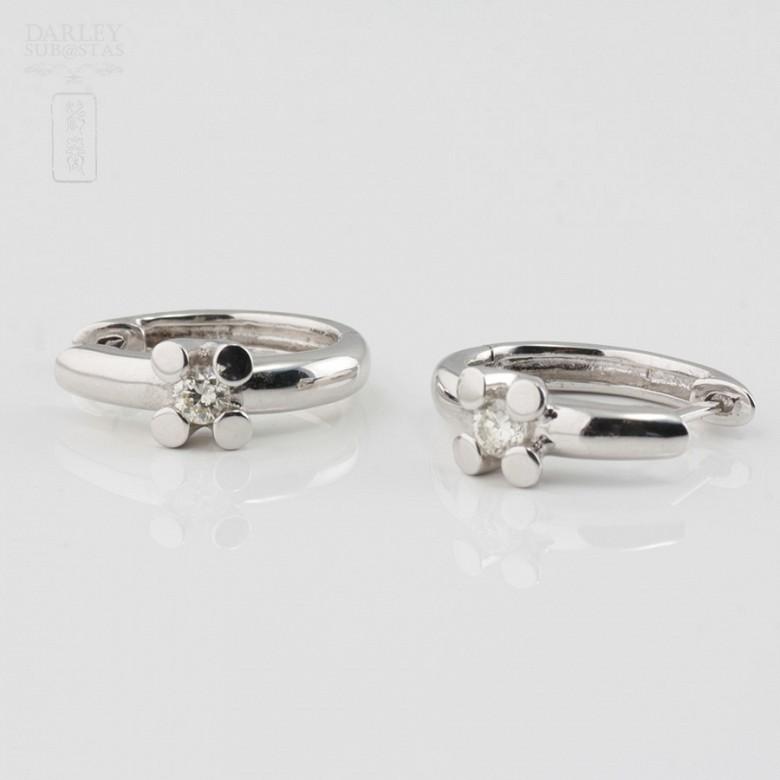 18K白金镶钻石耳环 - 1