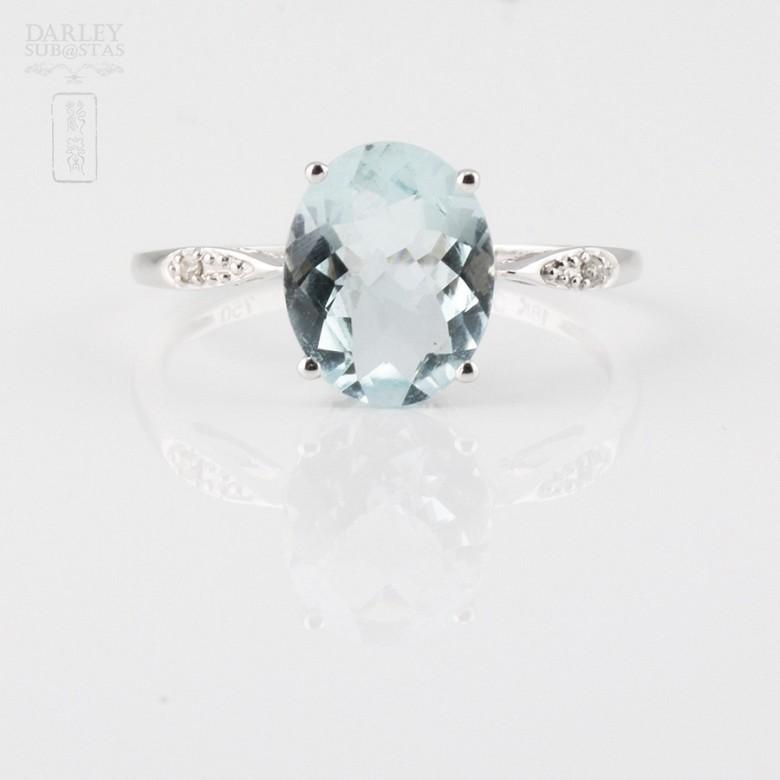 1.98克拉海蓝宝石配钻石18K白金戒指 - 3