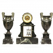 A Marble Clock Garniture with mercury pendulum, late 19th century.