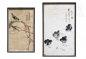 Lot of two Chinese paintings, early 20th century
