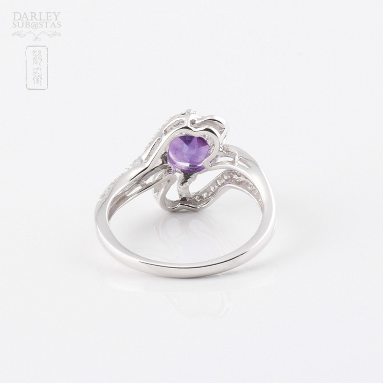 6.33克拉天然紫晶配0.20克拉钻石18K白金戒指 - 3