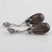Earrings  smoky quartz 33,23cts  and diamonds in white gold - 1