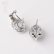 Pair of earrings in 18K white gold  with Aguamarina2.94cts and diamonds - 2