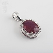 Pendant with ruby 2,36cts and diamond  in white gold - 4