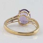 18k白金镶紫晶配钻石戒指 - 2
