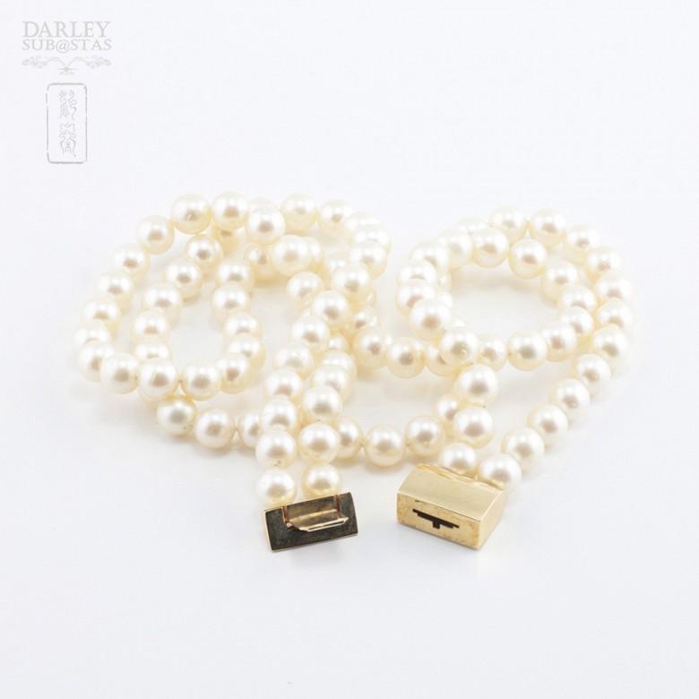 Collar perlas japonesas, zafiros y brillantes - 3