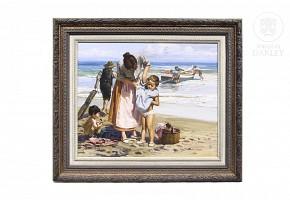 """Agustín Navarro Costa (1936) """"Escena en la playa"""""""