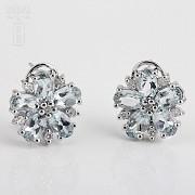 4.01克拉海蓝宝石配钻石18K白金耳环