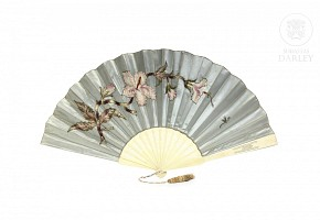 Fan with embroidered silk country.