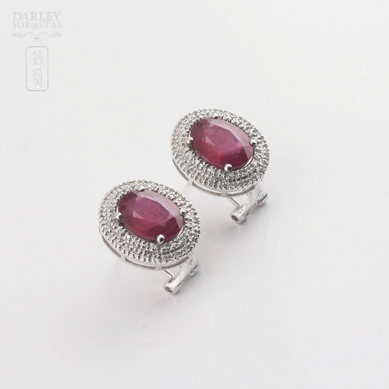 Earrings in 18k white gold with rubies and diamonds - 3