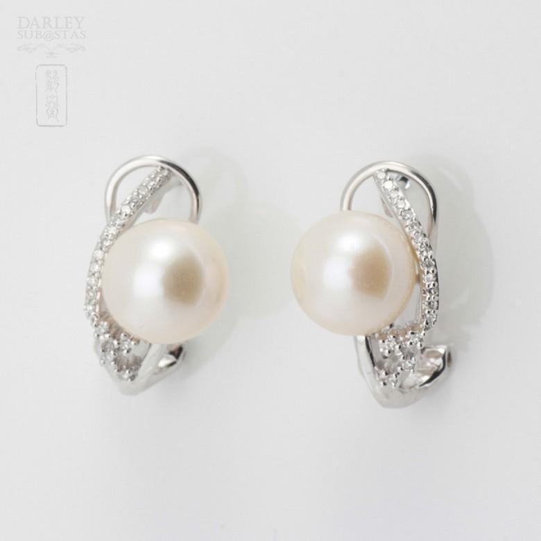 Preciosos pendientes perla y diamantes