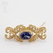 Aderezo de Fallera color azul Zafiro y dorado - 4