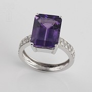 6.93克拉天然紫晶配钻石18K白金戒指 - 4