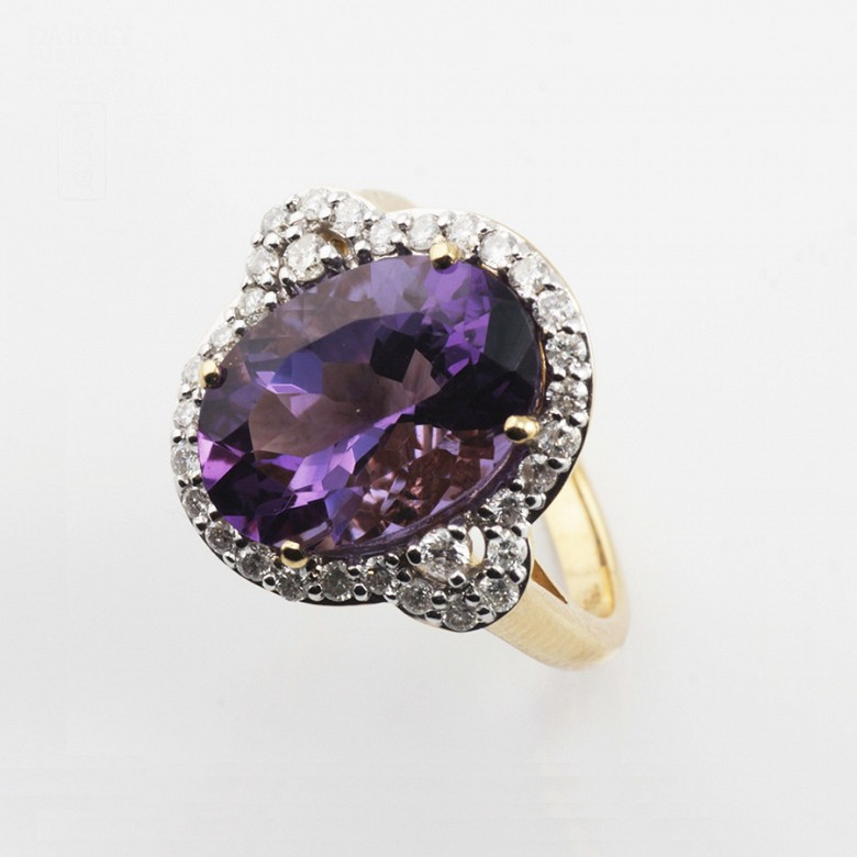 0.50cts elegant ring with diamonds and 18k yellow gold amethyst - 3