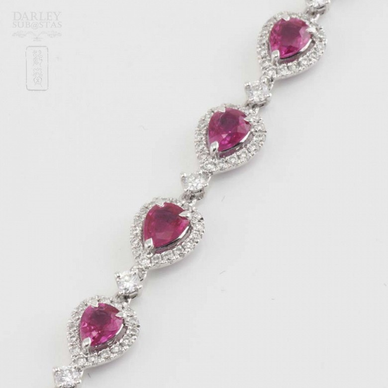 18k white gold bracelet with rubies and diamonds. - 10