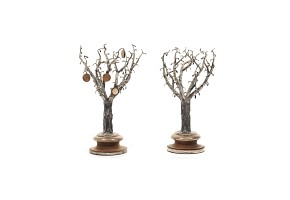 Pair of silver trees with wooden base, Spain, 20th century