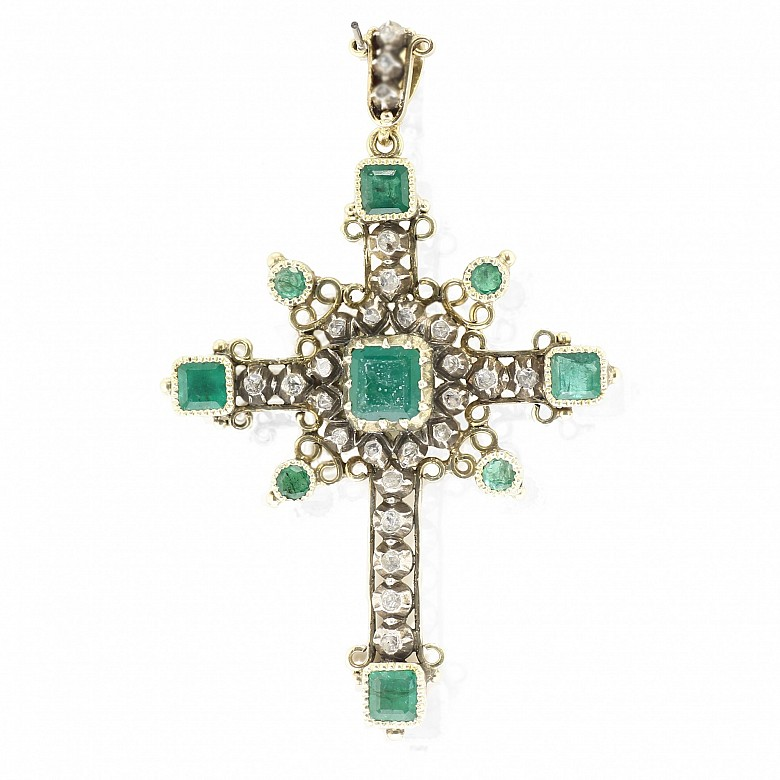 18k yellow gold cross, with diamonds and emeralds, 19th century