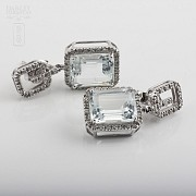 Earrings with aquamarine 6.45cts and diamond  in white gold - 1