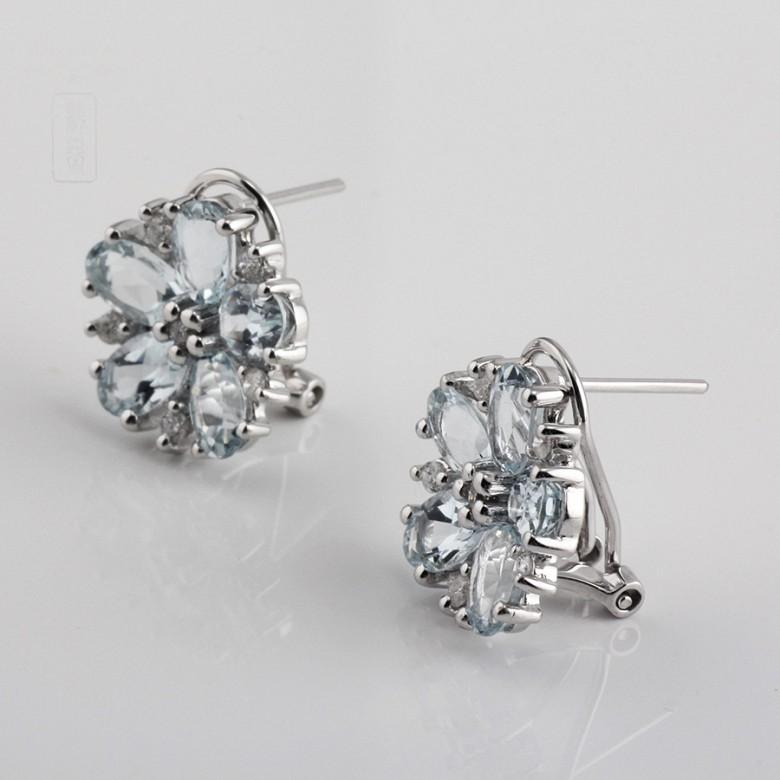 4.01克拉海蓝宝石配钻石18K白金耳环 - 1