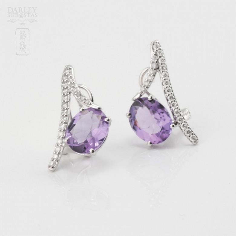 Originales pendientes amatista y diamantes - 2