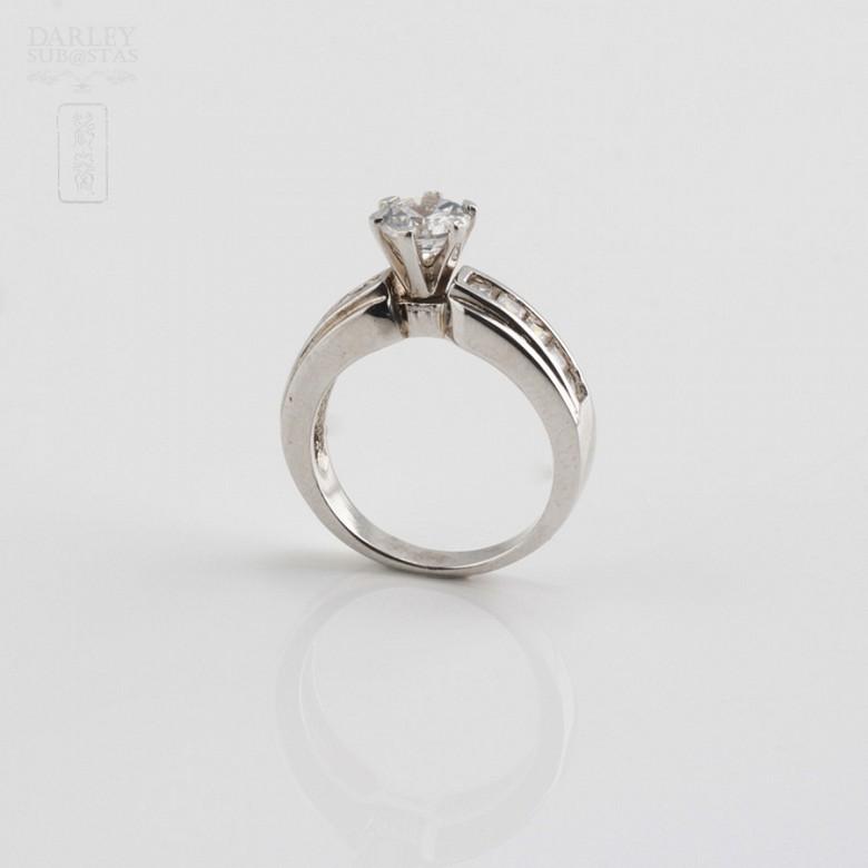 925银镀白金镶圆锆石戒指 - 1