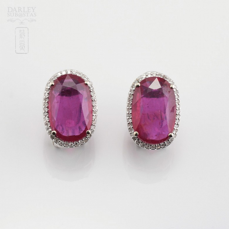 Earrings with ruby10.05cts and diamonds in white gold