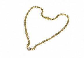 Gargantilla de oro amarillo de 18k con un diamante central