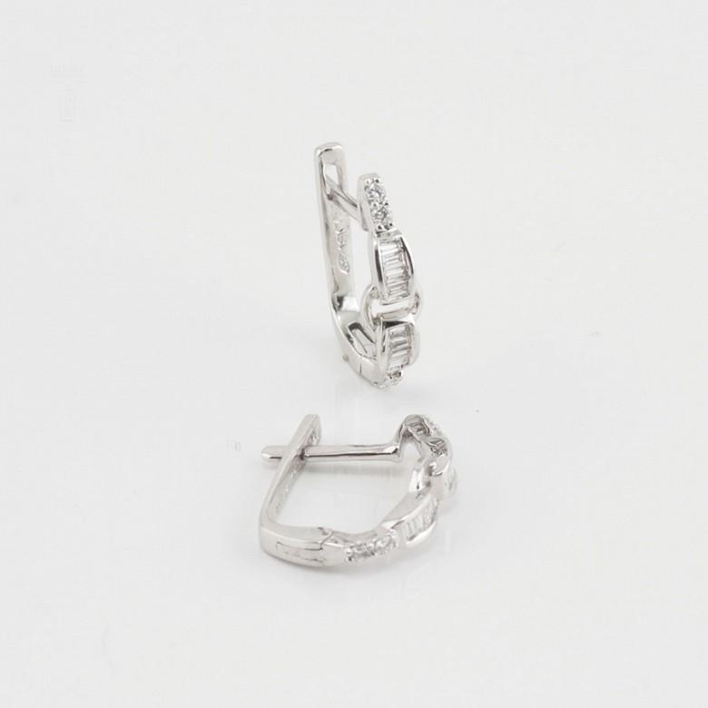 Pendientes oro blanco y diamantes 0.28cts - 3