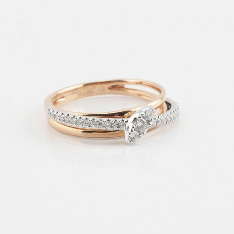 Beautiful 18k rose gold and diamond ring - 4