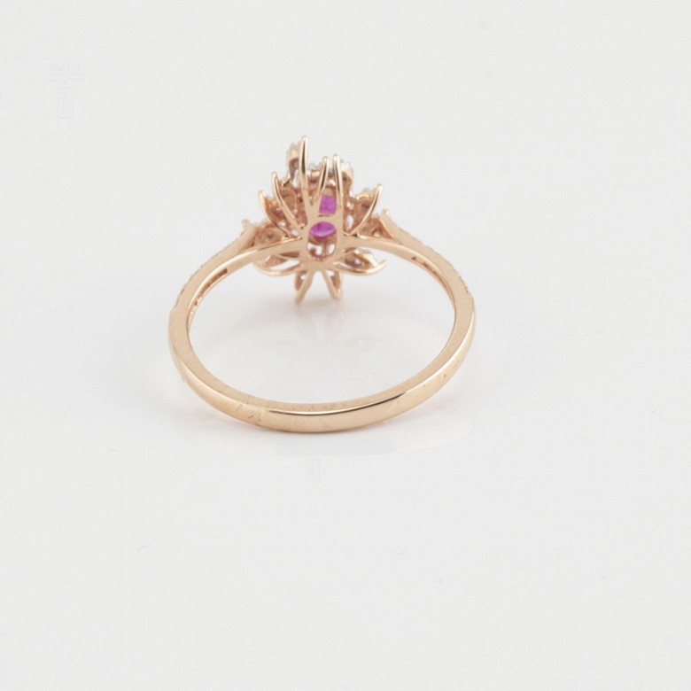 Fantastic 18k rose gold ring, ruby and diamonds - 2