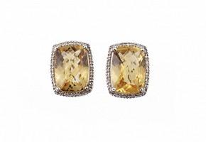 Pendientes en oro blanco de 18k con citrinos y diamantes.