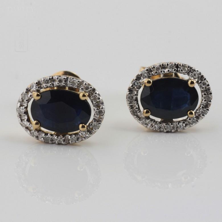 Bonitos pendientes zafiro y diamantes - 2