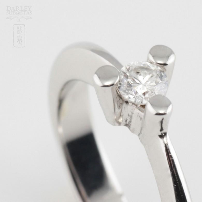Solitario diamante 0.16cts en oro blanco 18k - 4